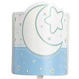 LED Wandlampe Mond & Sterne, blau/weiß