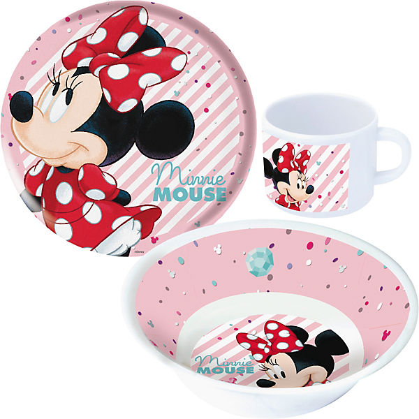 kindergeschirr melamin minnie mouse 3 tlg disney minnie mouse mytoys. Black Bedroom Furniture Sets. Home Design Ideas