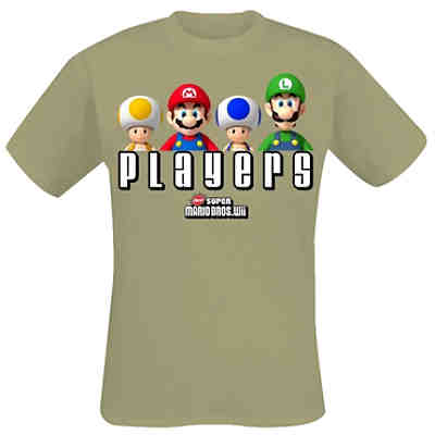 Nintendo T-Shirt Super Mario Bros Players -M- khaki