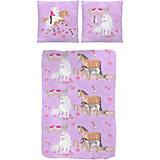 Kinderbettwäsche Pferde, Linon, 135 x 200 cm