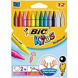 BIC  Мелки восковые цветные Три Пластидекор 12 цветов