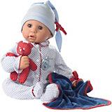 Cookie Puppe, blau, Weichkörper, mit Zubehör, 48 cm
