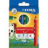 Цветные карандаши 3 в 1: цветной карандаш, акварельный карандаш, восковый мелок, 6 шт.