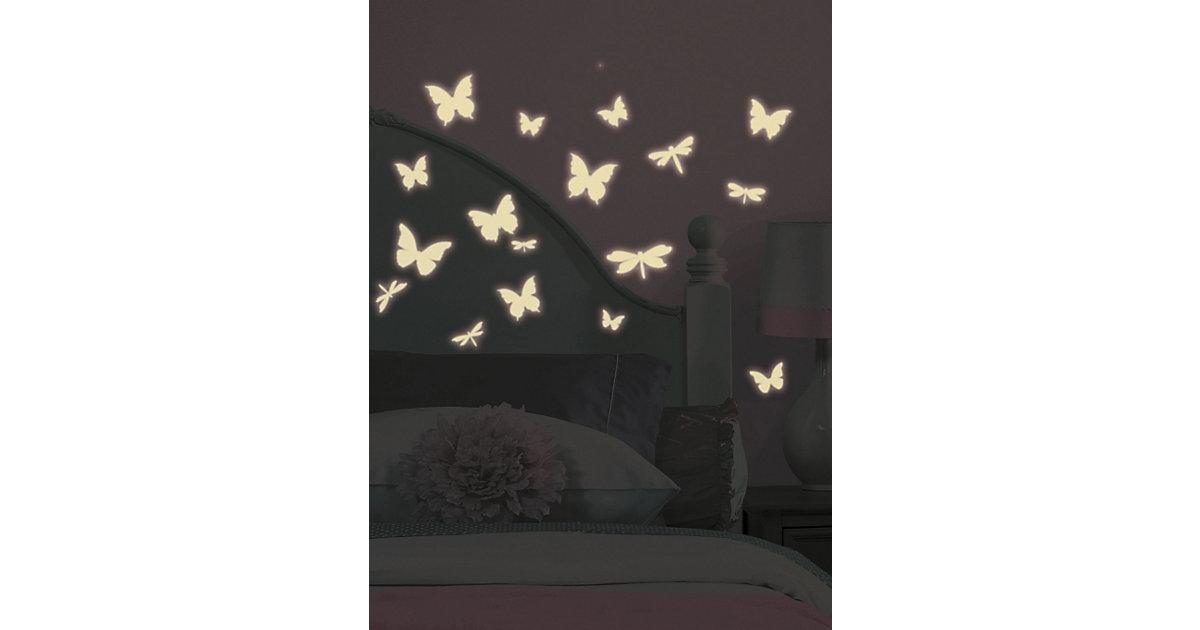 Wandsticker Leuchtschmetterlinge, Glow in Dark, 80-tlg.