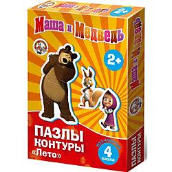 """Контурные пазлы """"Лето"""", 4х2/4 части, Маша и Медведь"""