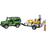 Внедорожник Land Rover c прицепом-платформой,  Bruder