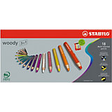 Buntstift woody 3 in 1, 18 Farben