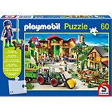 Auf dem Bauernhof, 60 Teile, Kinderpuzzle Playmobil mit Figur