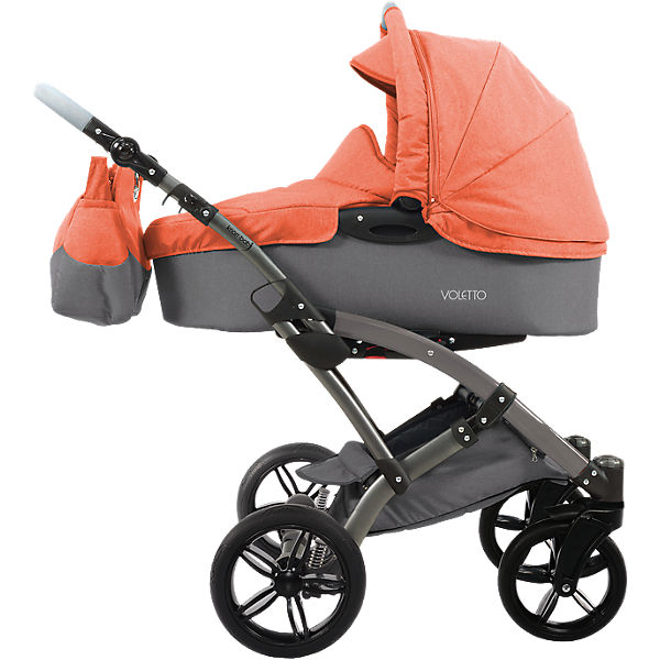 Kombi Kinderwagen Voletto Happy Colour mit Wickeltasche, grau-orange