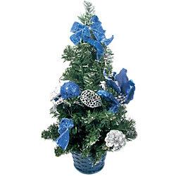 Елка декоративная с синими украшениями, 40 см