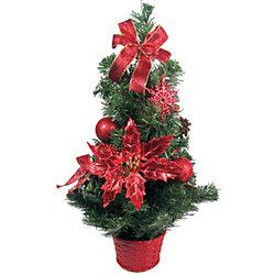 Елка декоративная с красными украшениями, 50 см