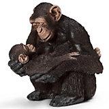 "Schleich Шимпанзе, самка с детенышем. Серия ""Дикие животные"""