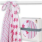 Mulltücher XXL Stars & Stripes, 2er Pack, 120 x 120 cm, pink