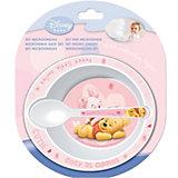 Набор для СВЧ: Тарелка + ложка (розовый), Винни Пух