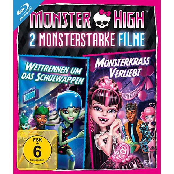 BLU-RAY Monster High - 2 Monsterstarke Filme Vol. 1 (Wettrennen um das Schulwappen & Monsterkrass verliebt)