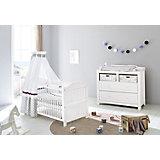 Kinderbett & breite Wickelkommode Sparset NINA, Fichte massiv, Weiß lasiert