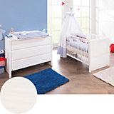 Kinderbett & breite Wickelkommode Sparset AURA, Fichte vollmassiv, weiß lasiert