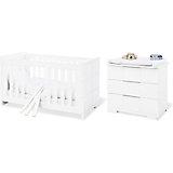 Kinderbett & breite Wickelkommode Sparset POLAR, weiß edelmatt