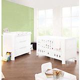 Kinderbett & Wickelkommode Sparset MOON, Weiß/Hochglanz