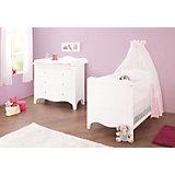 Kinderbett & breite Wickelkommode Sparset FLEUR, weiß edelmatt