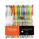 TUKZAR Набор гелевых ручек: суперметаллик с блестками, 12 цветов
