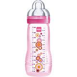 Weithals Flasche Baby Bottle, PP, 330 ml, Silikonsauger, Gr. 3, rosa