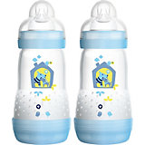 Weithals Flasche Anti-Colic, PP, 260 ml, Silikonsauger, Gr. 1, blau, 2er Pack