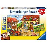 Пазл «Работа на ферме», 2х12 деталей, Ravensburger