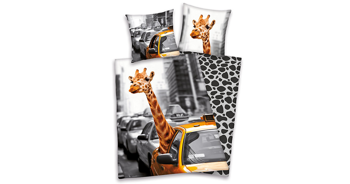 Wende- Bettwäsche Giraffe & New York Taxi, Linon, 135 x 200 cm