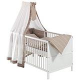 Kinderbett Conny komplett, Kiefer teilmassiv/weiß, Wave, 70 x 140 cm, mit e-Protect Himmel