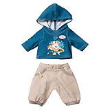 BABY born Puppenkleidung Jeans Basic Junge,Beige Hose, blauer Hoody, 43 cm