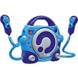 CD-Player für Kinder mit 2 Mikrofonen, blau/grau