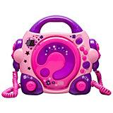 CD-Player für Kinder mit 2 Mikrofonen, rosa/lila