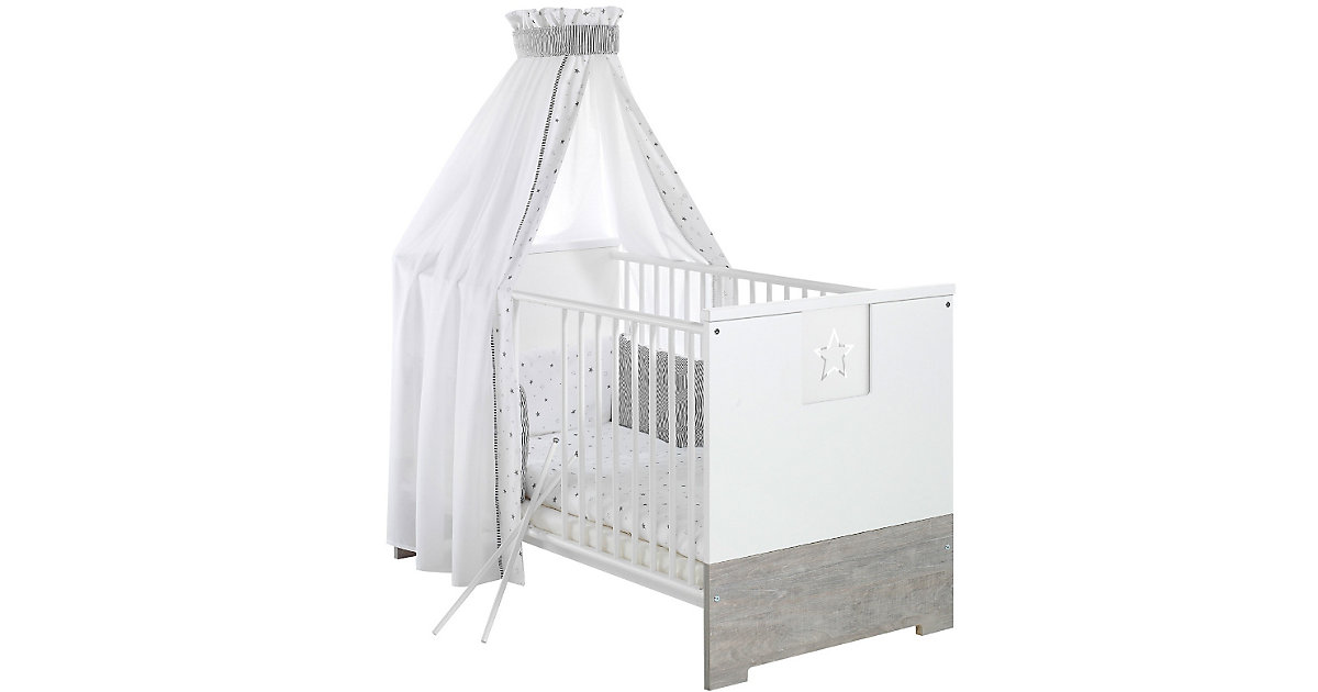 Kinderbett ECO STAR, Driftwood/weiß, 70 x 140 cm grau