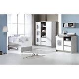 Komplett Kinderzimmer ECO STAR, 3-tlg. (Kinderbett, Umbauseiten, Wickelkommode und 2-türiger Kleiderschrank mit Mittelregal), Driftwood/weiß