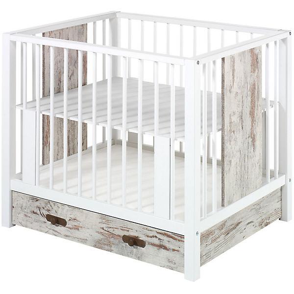 laufgitter luca mit schublade shabby chic wei 80 x 100 cm schardt mytoys. Black Bedroom Furniture Sets. Home Design Ideas