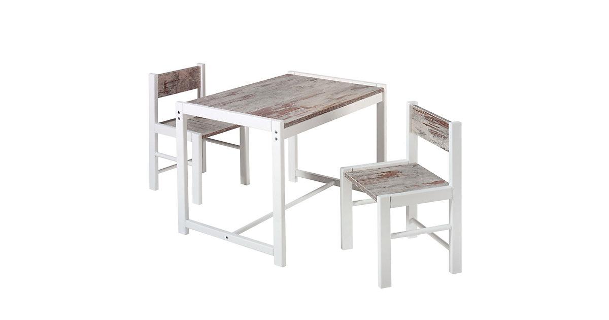 Kindersitzgruppe Sammy, 2 Stühle/ 1 Tisch, shabby chic/buche massiv weiß grau