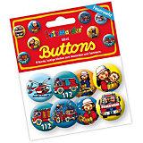 Mini-Button-Set Feuerwehrmann Benny Brandmeister, 8 Stück