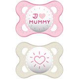 Schnuller Original, Silikon, Gr. 1, I love Mummy, pink, 2er Pack