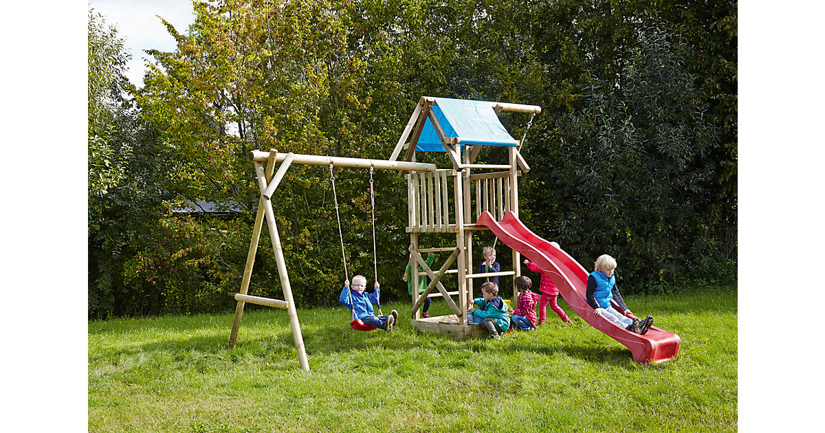 Spielturm mit Planendach, Schaukel, Sandkasten, Knotenseil und Rutsche rot - ASTERIX -