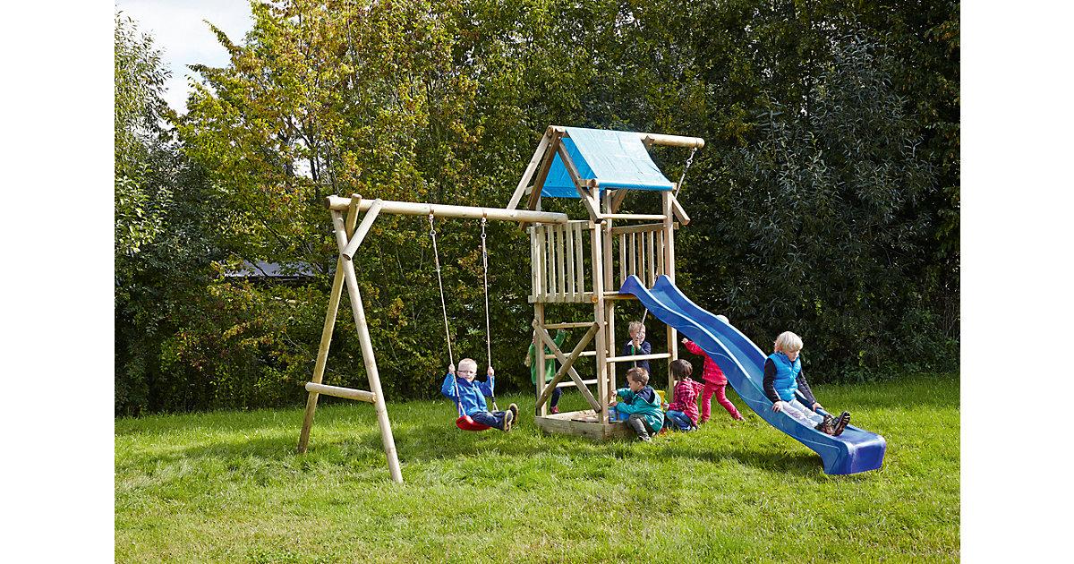 Spielturm mit Planendach, Schaukel, Sandkasten, Knotenseil und Rutsche blau - ASTERIX -