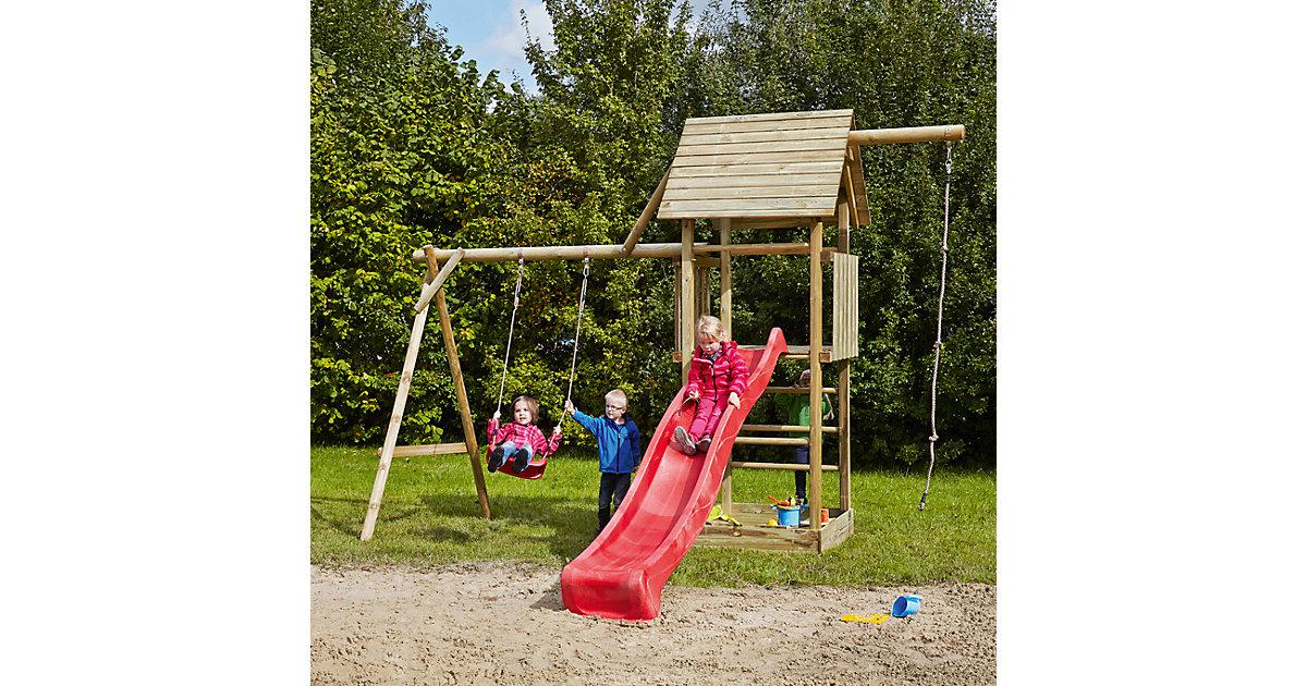 Spielturm mit Holzdach, Schaukel, Sandkasten, Knotenseil und Rutsche rot - OBELIX -