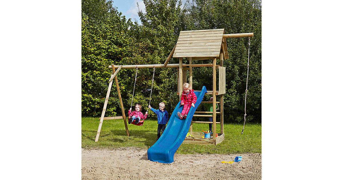 Spielturm mit Holzdach, Schaukel, Sandkasten, Knotenseil und Rutsche blau - OBELIX -