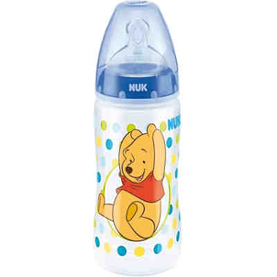 Weithals Flasche FIRST CHOICE+, PP, 300 ml, Silikonsauger, Gr. 1 S, Winnie the Pooh, blau