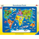Пазл «Карта мира с животными», 30 деталей, Ravensburger