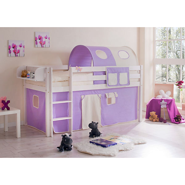 hochbett malte kiefer massiv 90 x 200 cm lila beige ticaa mytoys. Black Bedroom Furniture Sets. Home Design Ideas