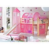 Spielbett mit Turm Kasper, Kiefer massiv natur, Zauberfee pink, 90 x 200 cm