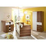 Babyzimmer Milu, 3-tlg. (Kleiderschrank, Wickelkommode, Bett), Walnuss-Weiß