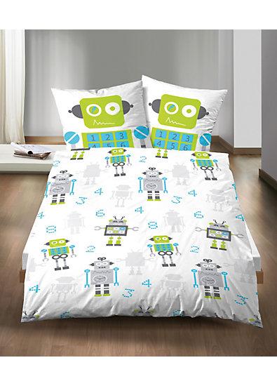 kinderbettw sche roboter linon 135 x 200 cm mytoys. Black Bedroom Furniture Sets. Home Design Ideas