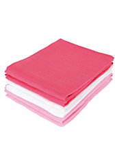 Mullwindeln, fuchsia/rosa/weiß, 70 x 70 cm, 6er Pack